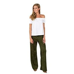 Kaeli Smith Faux Suede Tucker Wide Leg Pants Olive